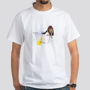 Bubble Bath Basset White T-Shirt