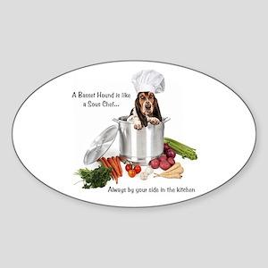 Basset Chef Oval Sticker