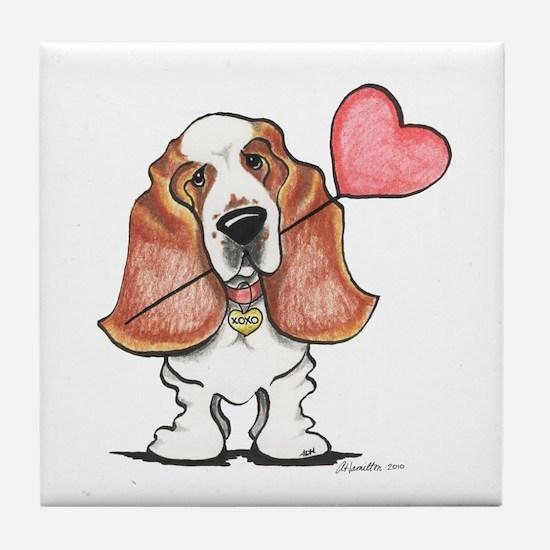 Basset Heart Balloon Tile Coaster