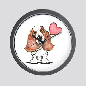 Basset Heart Balloon Wall Clock