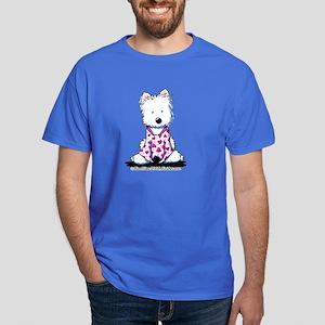 Valentine PJs Westie Dark T-Shirt