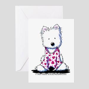 Valentine PJs Westie Greeting Cards (Pk of 20)