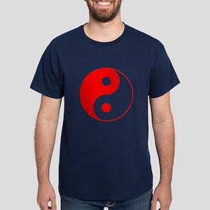 Red Yin Yang Symbol Dark T-Shirt