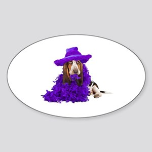 Basset Dress Up Oval Sticker