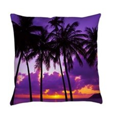 Purple Tropical Sunset Everyday Pillow