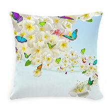 Plumeria Butterflies Everyday Pillow
