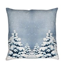 Cute Snowy Pine Trees Everyday Pillow