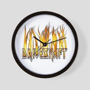 Drive Shaft Logo in Flames Wall Clock