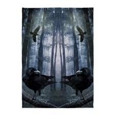 Misty Forest Crows 5'x7'area Rug