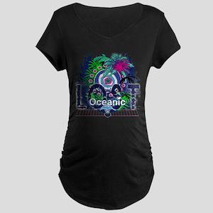 Lost Oceanic Heart Wings Maternity Dark T-Shirt