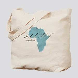 Amharic Grandma (blue) Tote Bag