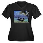 Belize Women's Plus Size V-Neck Dark T-Shirt