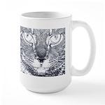 Vigilant Cat (blue) Large Mug