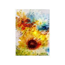 Watercolor Sunflowers 5'x7'area Rug