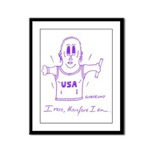 I RACE, THEREFORE I AM. Framed Panel Print