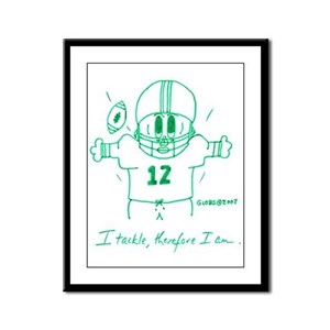 I TACKLE, THEREFORE I AM. Framed Panel Print