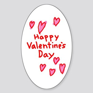 Valentines Hearts Oval Sticker