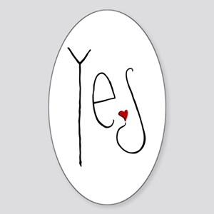 Yes Heart Oval Sticker