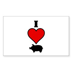 I heart Pig Rectangle Decal