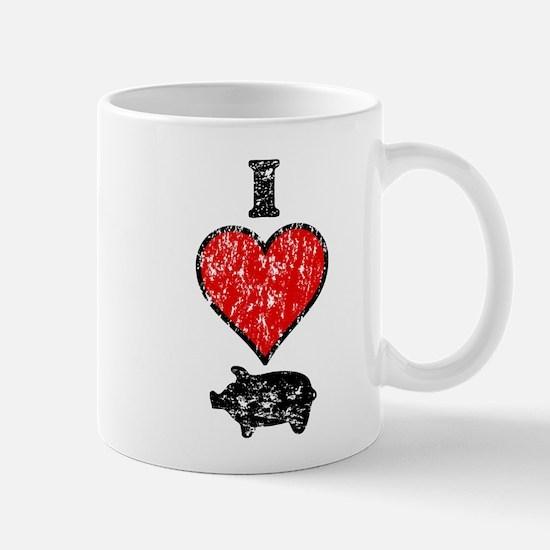 Vintage I Heart Pig Mug