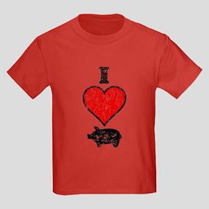 Vintage I Heart Pig Kids Dark T-Shirt