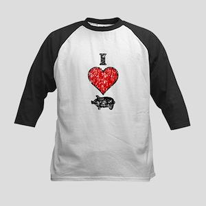 Vintage I Heart Pig Kids Baseball Jersey