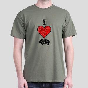Vintage I Heart Pig Dark T-Shirt