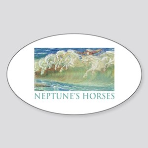 NEPTUNE'S HORSES Oval Sticker