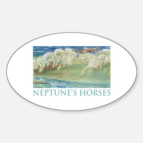 NEPTUNE'S HORSES Oval Decal