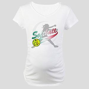 Girls Softball Maternity T-Shirt