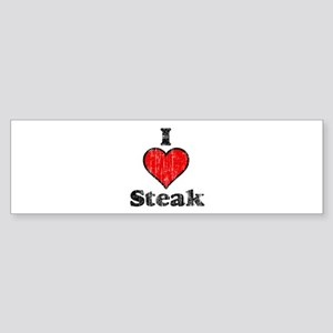 Vintage I heart Steak Bumper Sticker