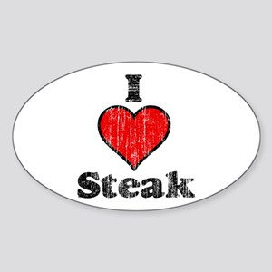 Vintage I heart Steak Oval Sticker