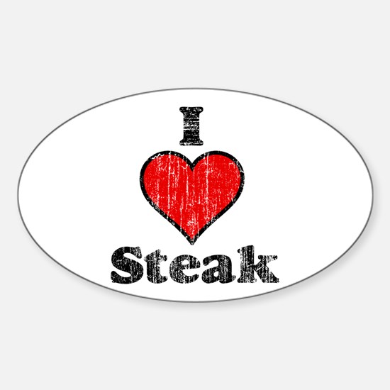 Vintage I heart Steak Oval Decal