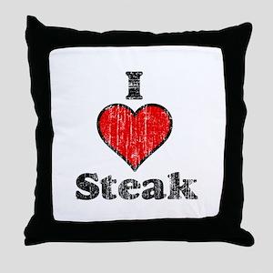 Vintage I heart Steak Throw Pillow