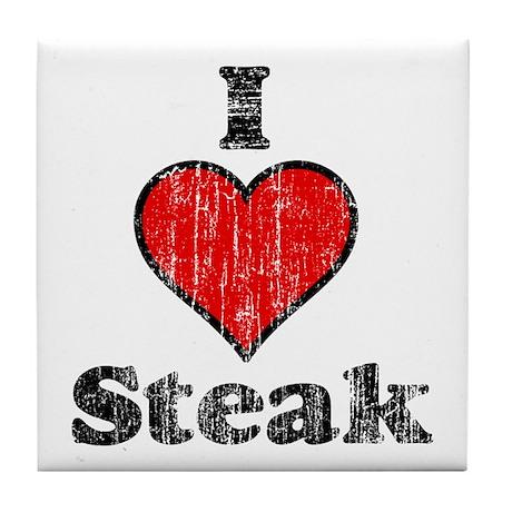 Vintage I heart Steak Tile Coaster
