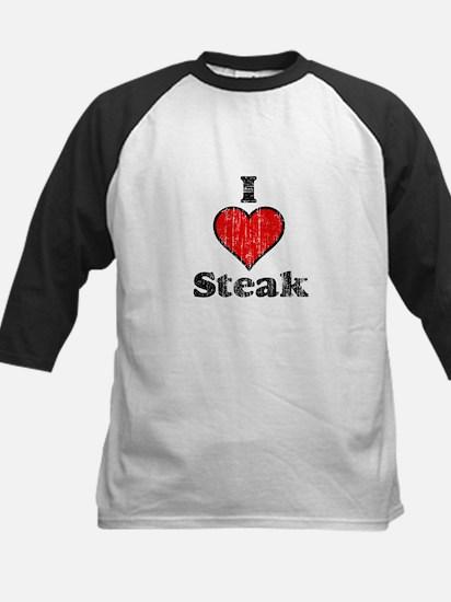 Vintage I heart Steak Kids Baseball Jersey