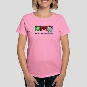 Peace Love Breastfeeding Women's Dark T-Shirt