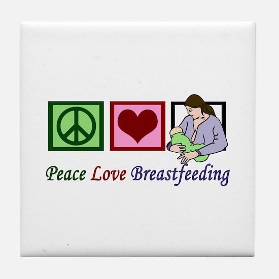 Peace Love Breastfeeding Tile Coaster