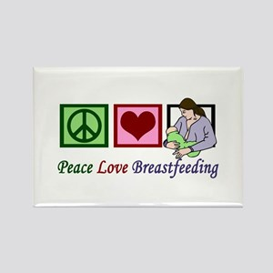 Peace Love Breastfeeding Rectangle Magnet