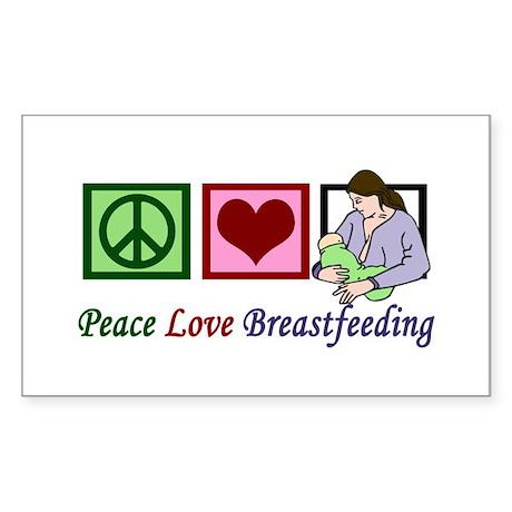 Peace Love Breastfeeding Sticker (Rectangle)
