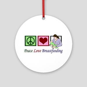 Peace Love Breastfeeding Ornament (Round)