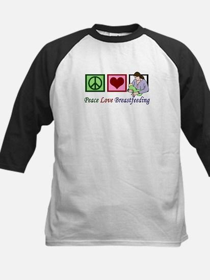 Peace Love Breastfeeding Kids Baseball Jersey