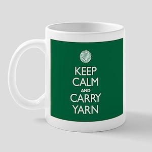 Green Keep Calm and Carry Yarn Mug