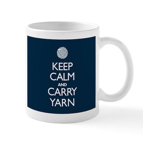 Navy Keep Calm and Carry Yarn Mug