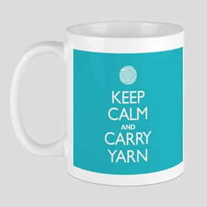 Turquoise Keep Calm and Carry Yarn Mug