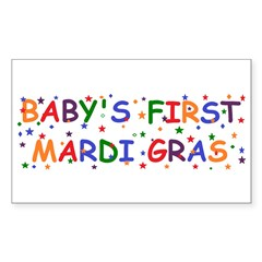 Baby's first Mardi Gras Rectangle Sticker 10 pk)