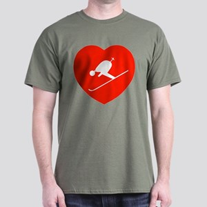 Love Skiing Heart Black T-Shirt