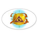 Illuminati Golden Apple Oval Sticker (10 pk)