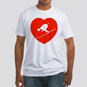 Love Skiing Heart Fitted T-Shirt