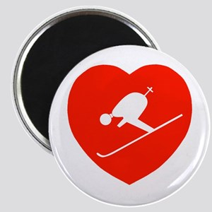 Love Skiing Heart Magnet